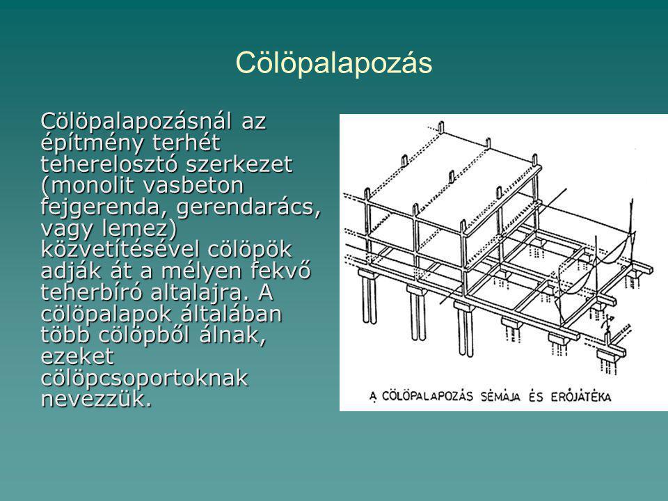 Cölöpalapozás Cölöpalapozásnál az építmény terhét teherelosztó szerkezet (monolit vasbeton fejgerenda, gerendarács, vagy lemez) közvetítésével cölöpök adják át a mélyen fekvő teherbíró altalajra.