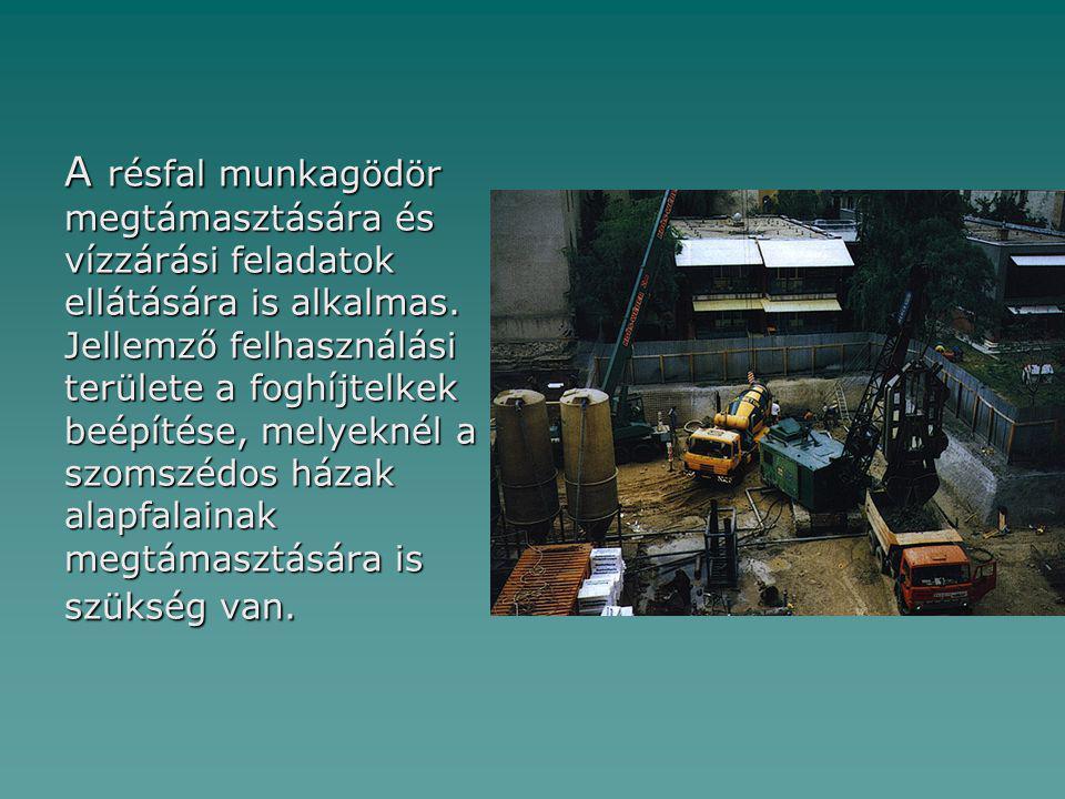 A résfal munkagödör megtámasztására és vízzárási feladatok ellátására is alkalmas.