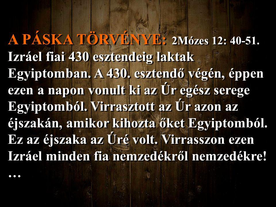 A PÁSKA TÖRVÉNYE: Ezt mondta az Úr Mózesnek és Áronnak: Ez a páskára vonatkozó rendelkezés: Az idegenek közül senki sem ehet belőle.