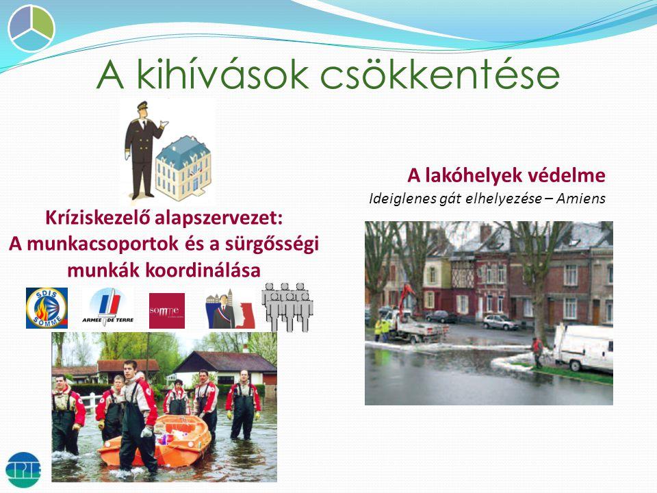A kihívások csökkentése A lakóhelyek védelme Ideiglenes gát elhelyezése – Amiens Kríziskezelő alapszervezet: A munkacsoportok és a sürgősségi munkák koordinálása