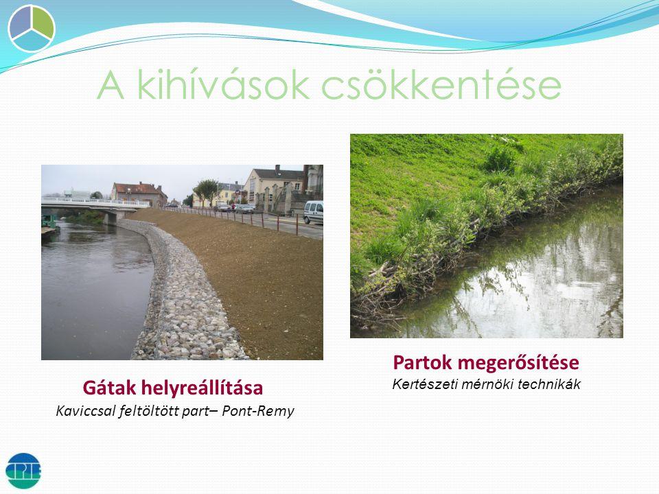 A kihívások csökkentése Diguettes et merlons Partok megerősítése Kertészeti mérnöki technikák Gátak helyreállítása Kaviccsal feltöltött part– Pont-Remy
