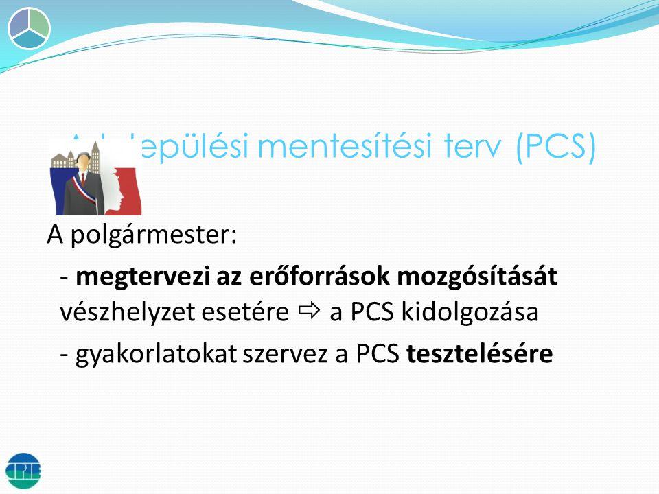 A települési mentesítési terv (PCS) A polgármester: - megtervezi az erőforrások mozgósítását vészhelyzet esetére  a PCS kidolgozása - gyakorlatokat szervez a PCS tesztelésére
