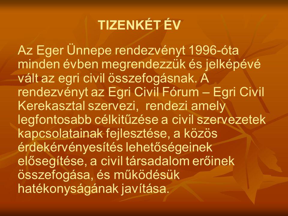 TIZENKÉT ÉV Az Eger Ünnepe rendezvényt 1996-óta minden évben megrendezzük és jelképévé vált az egri civil összefogásnak.