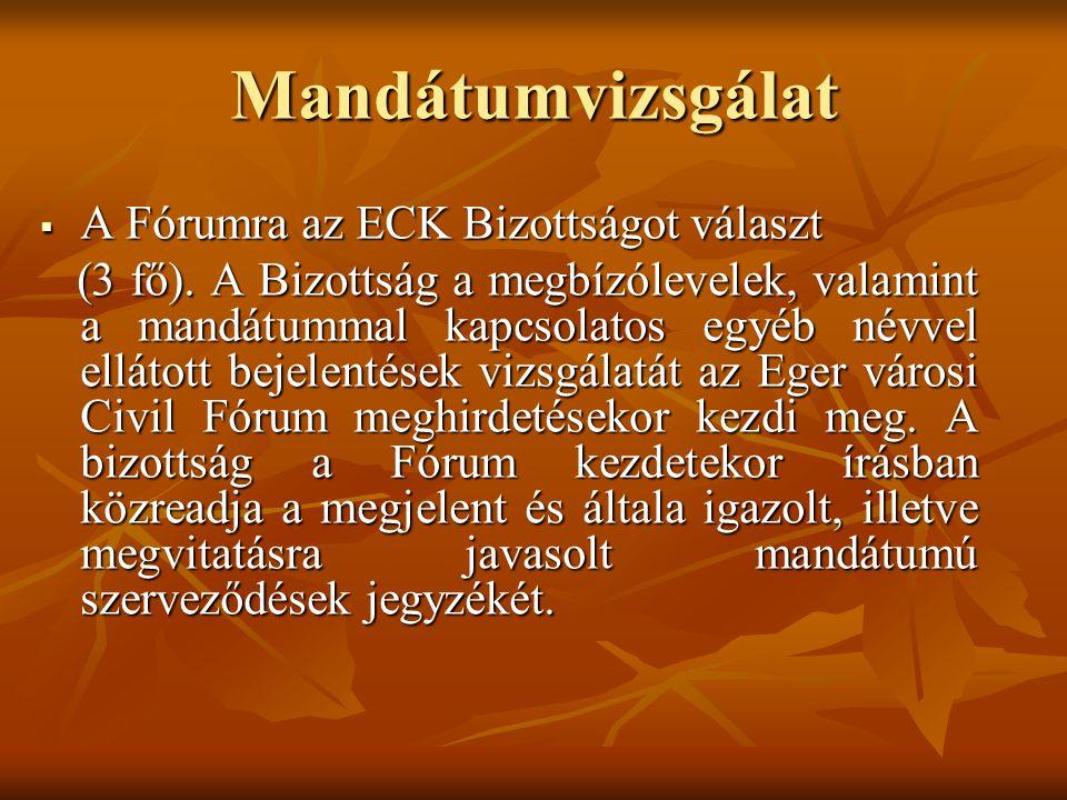 Mandátumvizsgálat  A Fórumra az ECK Bizottságot választ (3 fő).