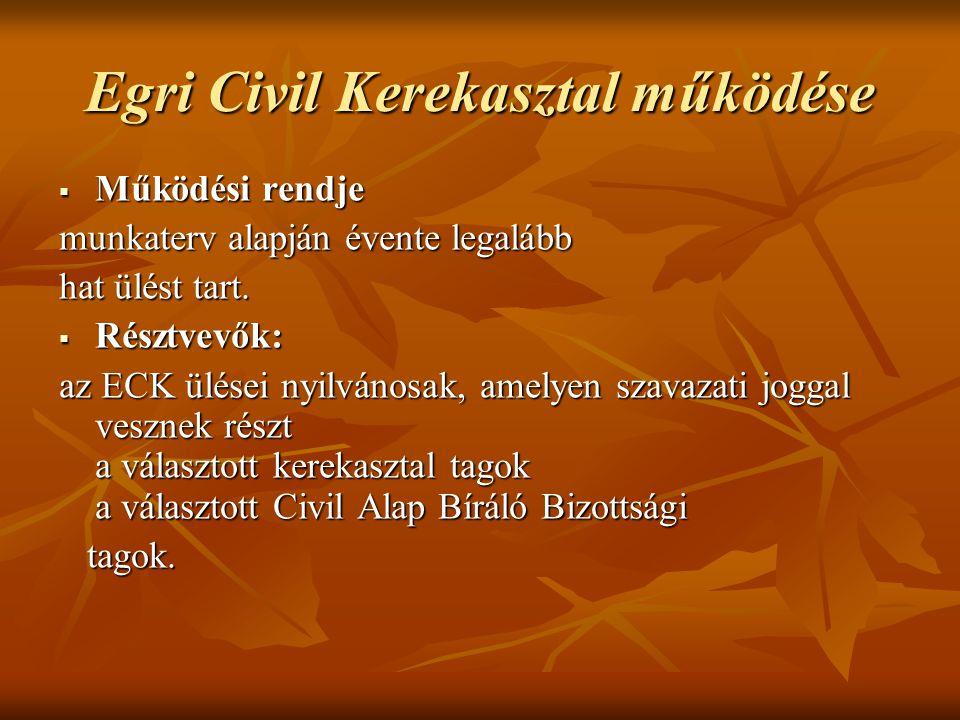 Egri Civil Kerekasztal működése  Működési rendje munkaterv alapján évente legalább hat ülést tart.