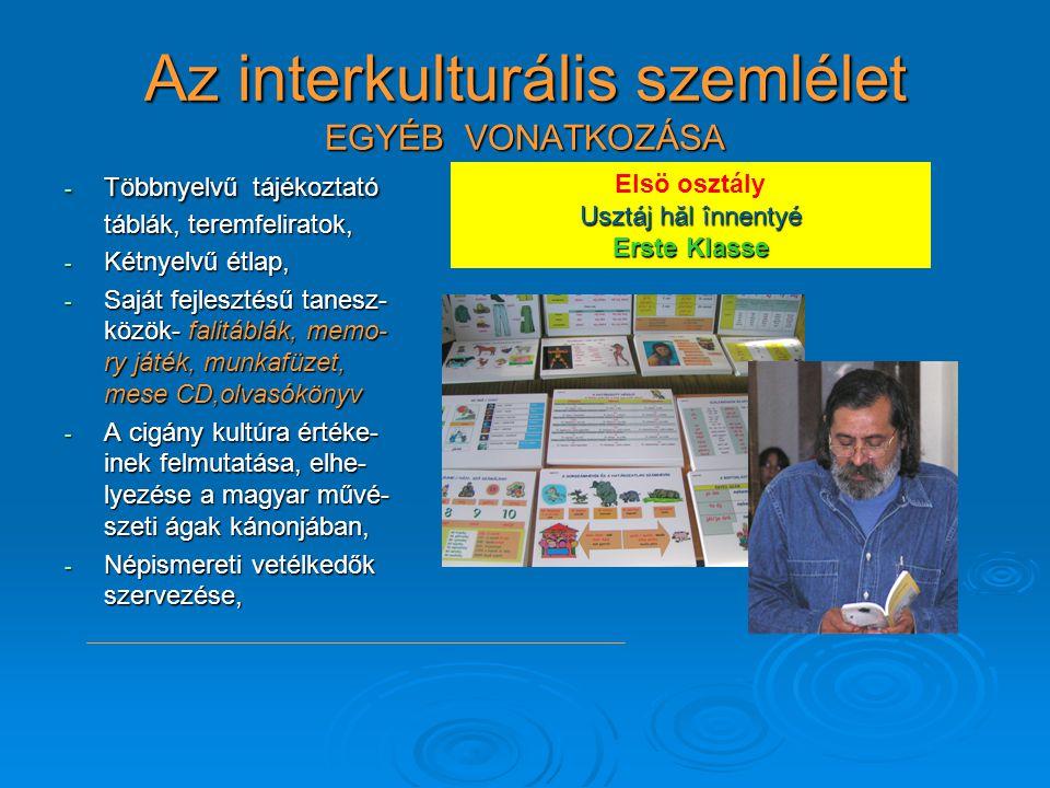 Az interkulturális szemlélet EGYÉB VONATKOZÁSA - Többnyelvű tájékoztató táblák, teremfeliratok, - Kétnyelvű étlap, - Saját fejlesztésű tanesz- közök-