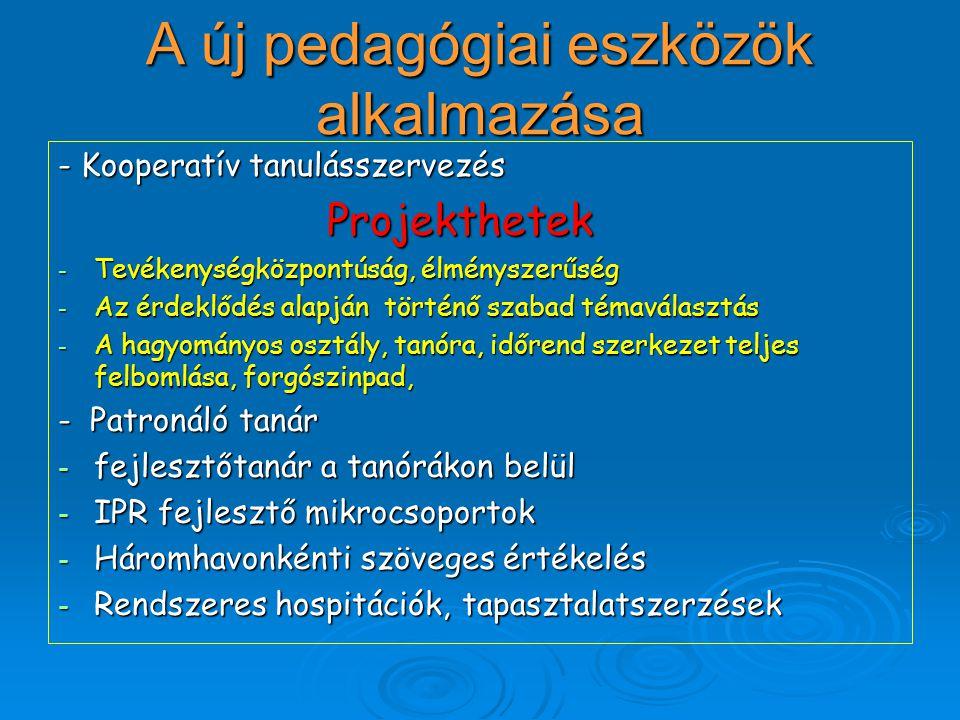 A új pedagógiai eszközök alkalmazása - Kooperatív tanulásszervezés Projekthetek Projekthetek - Tevékenységközpontúság, élményszerűség - Az érdeklődés