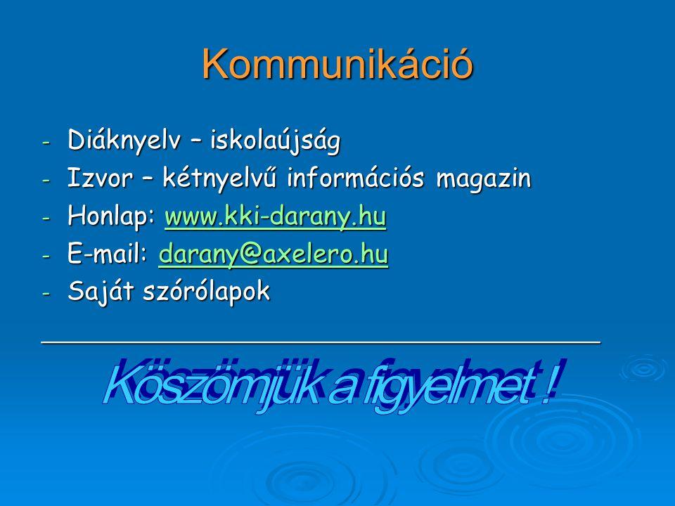 Kommunikáció - Diáknyelv – iskolaújság - Izvor – kétnyelvű információs magazin - Honlap: www.kki-darany.hu www.kki-darany.hu - E-mail: darany@axelero.