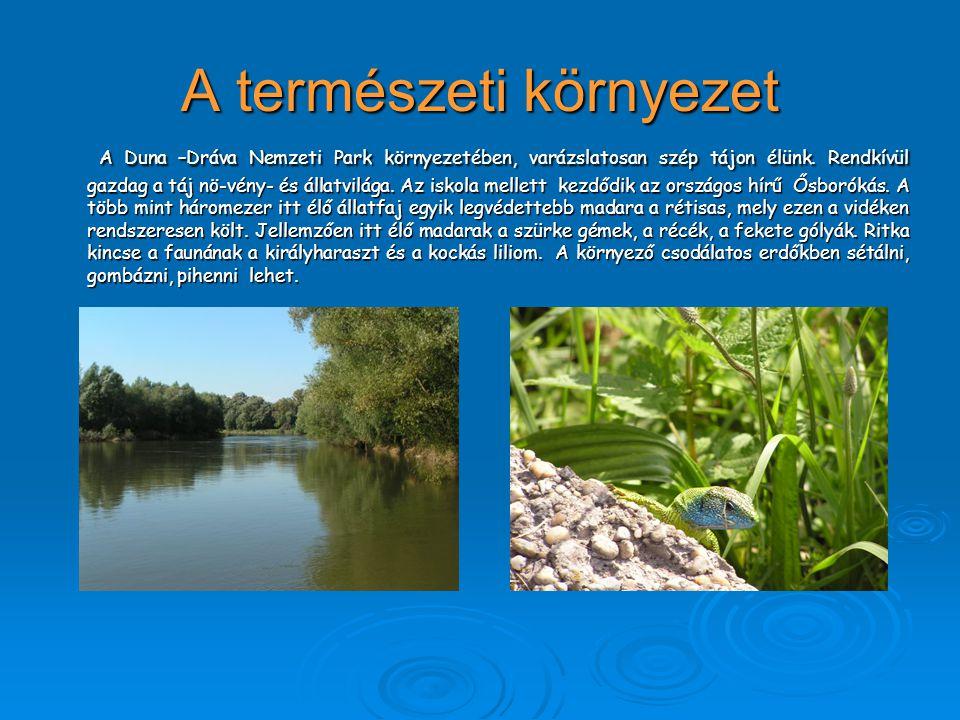 A természeti környezet A Duna –Dráva Nemzeti Park környezetében, varázslatosan szép tájon élünk. Rendkívül gazdag a táj nö-vény- és állatvilága. Az is