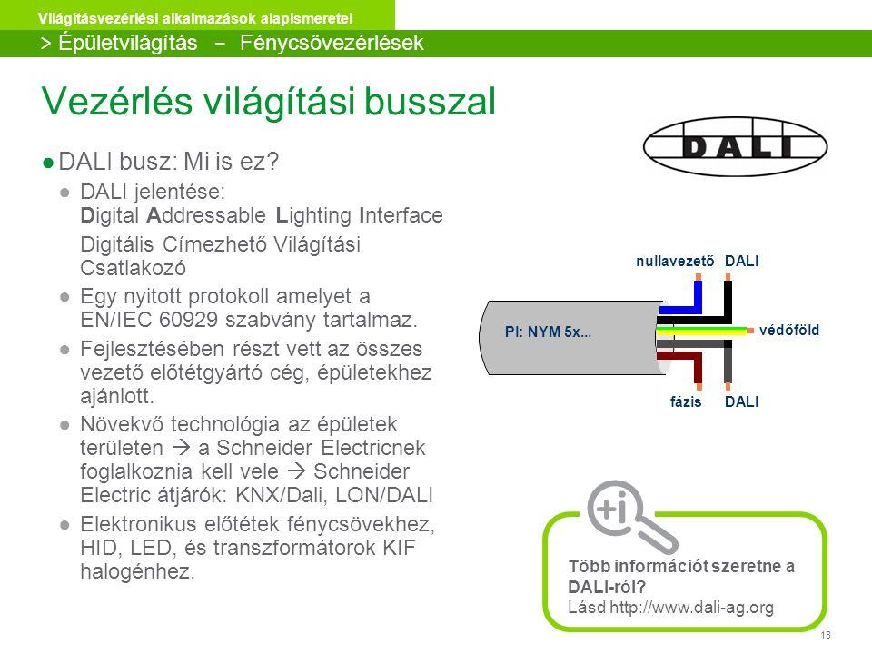 18 Világításvezérlési alkalmazások alapismeretei Vezérlés világítási busszal ●DALI busz: Mi is ez? ●DALI jelentése: Digital Addressable Lighting Inter