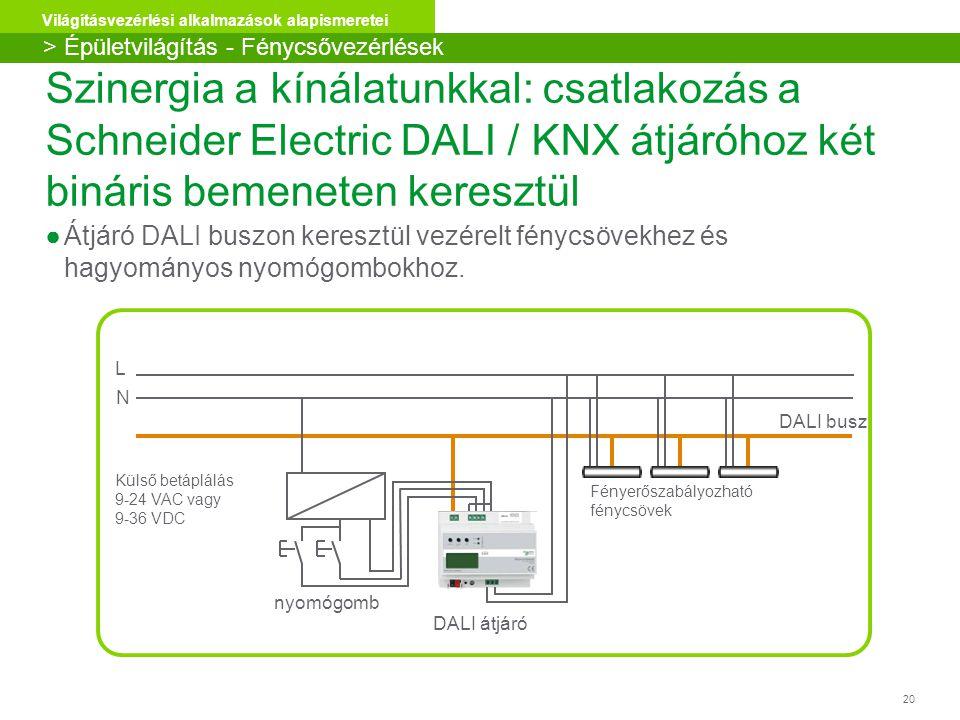 20 Világításvezérlési alkalmazások alapismeretei ●Átjáró DALI buszon keresztül vezérelt fénycsövekhez és hagyományos nyomógombokhoz. Szinergia a kínál