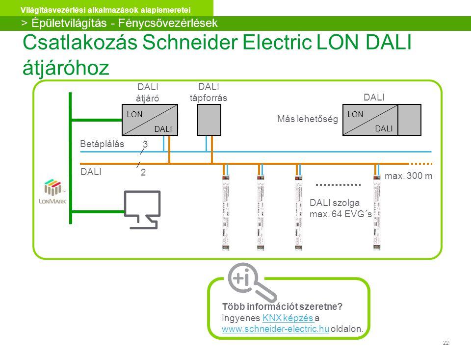 22 Világításvezérlési alkalmazások alapismeretei Csatlakozás Schneider Electric LON DALI átjáróhoz DALI Betáplálás max. 300 m DALI szolga max. 64 EVG´