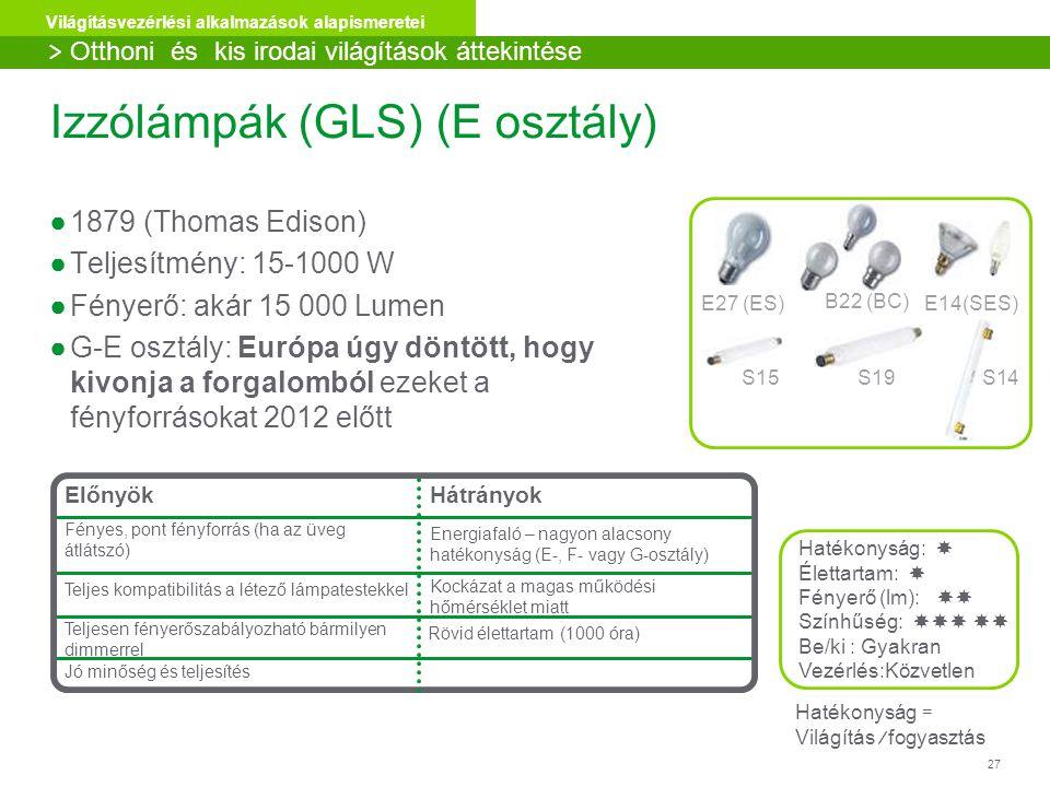 27 Világításvezérlési alkalmazások alapismeretei Izzólámpák (GLS) (E osztály) ●1879 (Thomas Edison) ●Teljesítmény: 15-1000 W ●Fényerő: akár 15 000 Lumen ●G-E osztály: Európa úgy döntött, hogy kivonja a forgalomból ezeket a fényforrásokat 2012 előtt E27 (ES)E14(SES) B22 (BC) S14S15S19 Hatékonyság:  Élettartam:  Fényerő (lm):  Színhűség:   Be/ki : Gyakran Vezérlés:Közvetlen Hatékonyság = Világítás/fogyasztás Előnyök Fényes, pont fényforrás (ha az üveg átlátszó) Hátrányok Energiafaló – nagyon alacsony hatékonyság (E-, F- vagy G-osztály) Teljes kompatibilitás a létező lámpatestekkel Kockázat a magas működési hőmérséklet miatt Teljesen fényerőszabályozható bármilyen dimmerrel Jó minőség és teljesítés Rövid élettartam (1000 óra) > Otthoni és kis irodai világítások áttekintése