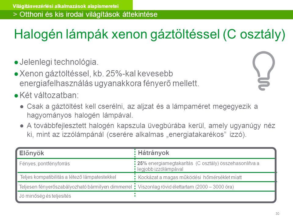 30 Világításvezérlési alkalmazások alapismeretei Halogén lámpák xenon gáztöltéssel (C osztály) ●Jelenlegi technológia. ●Xenon gáztöltéssel, kb. 25%-ka