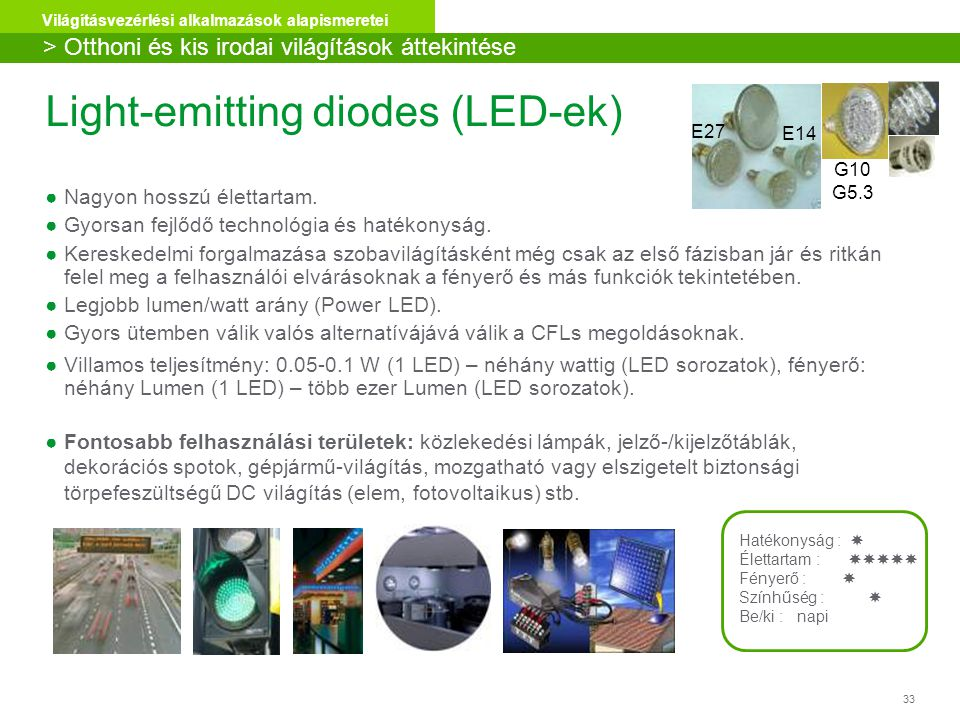 33 Világításvezérlési alkalmazások alapismeretei Light-emitting diodes (LED-ek) ●Nagyon hosszú élettartam. ●Gyorsan fejlődő technológia és hatékonyság