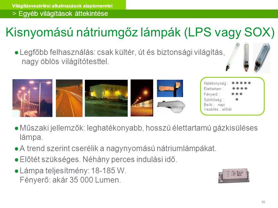 38 Világításvezérlési alkalmazások alapismeretei ●Legfőbb felhasználás: csak kültér, út és biztonsági világítás, nagy öblös világítótesttel. ●Műszaki