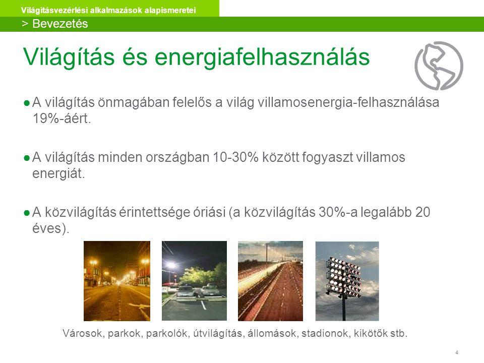 4 Világításvezérlési alkalmazások alapismeretei Világítás és energiafelhasználás ●A világítás önmagában felelős a világ villamosenergia-felhasználása 19%-áért.