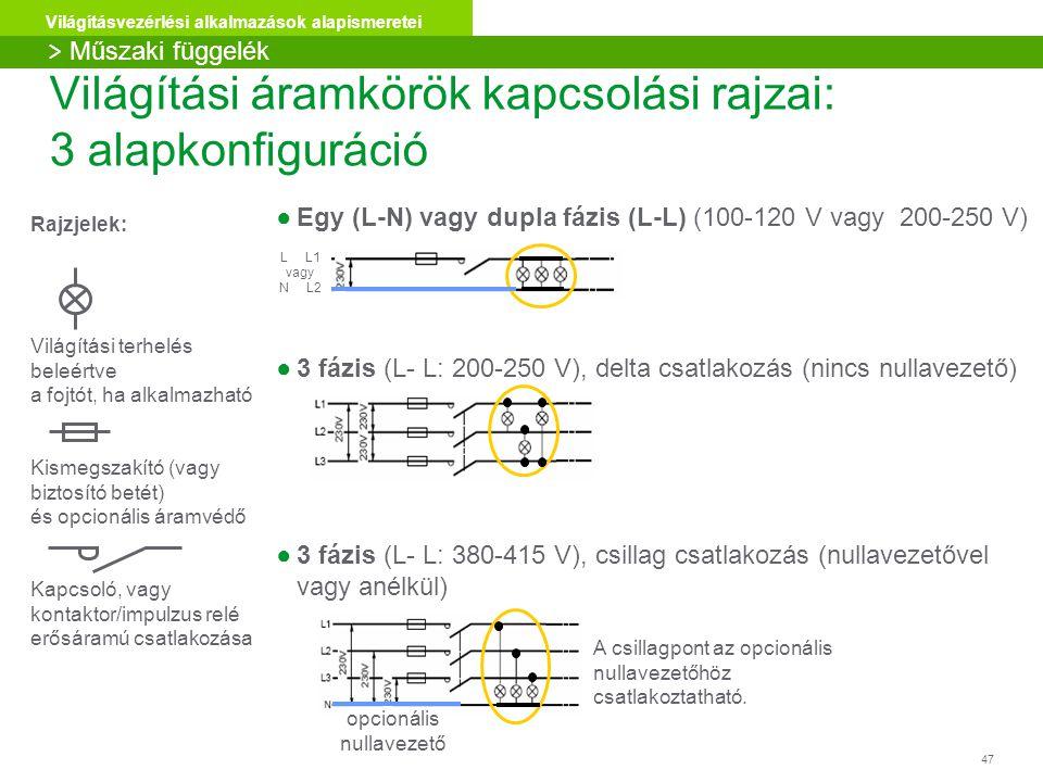 47 Világításvezérlési alkalmazások alapismeretei Világítási áramkörök kapcsolási rajzai: 3 alapkonfiguráció ●Egy (L-N) vagy dupla fázis (L-L) (100-120 V vagy 200-250 V) ●3 fázis (L- L: 200-250 V), delta csatlakozás (nincs nullavezető) ●3 fázis (L- L: 380-415 V), csillag csatlakozás (nullavezetővel vagy anélkül) A csillagpont az opcionális nullavezetőhöz csatlakoztatható.