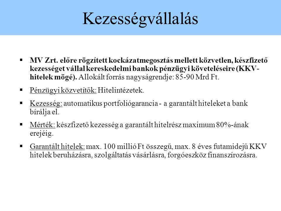 Kezességvállalás  MV Zrt. előre rögzített kockázatmegosztás mellett közvetlen, készfizető kezességet vállal kereskedelmi bankok pénzügyi követeléseir