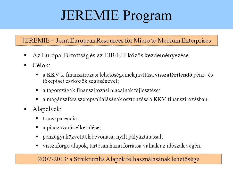 JEREMIE Program  Az Európai Bizottság és az EIB/EIF közös kezdeményezése.  Célok:  a KKV-k finanszírozási lehetőségeinek javítása visszatérítendő p