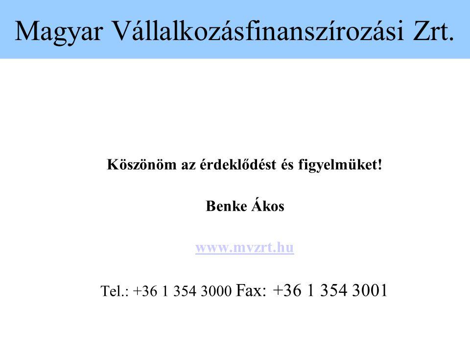 Magyar Vállalkozásfinanszírozási Zrt. Köszönöm az érdeklődést és figyelmüket! Benke Ákos www.mvzrt.hu Tel.: +36 1 354 3000 Fax: +36 1 354 3001