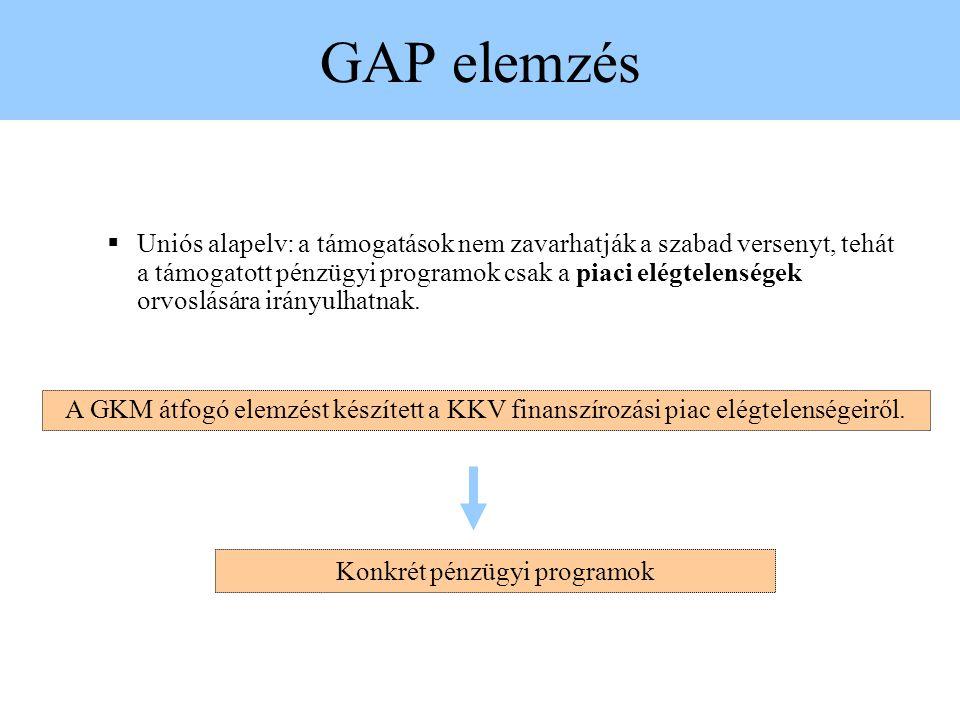 GAP elemzés  Uniós alapelv: a támogatások nem zavarhatják a szabad versenyt, tehát a támogatott pénzügyi programok csak a piaci elégtelenségek orvoslására irányulhatnak.