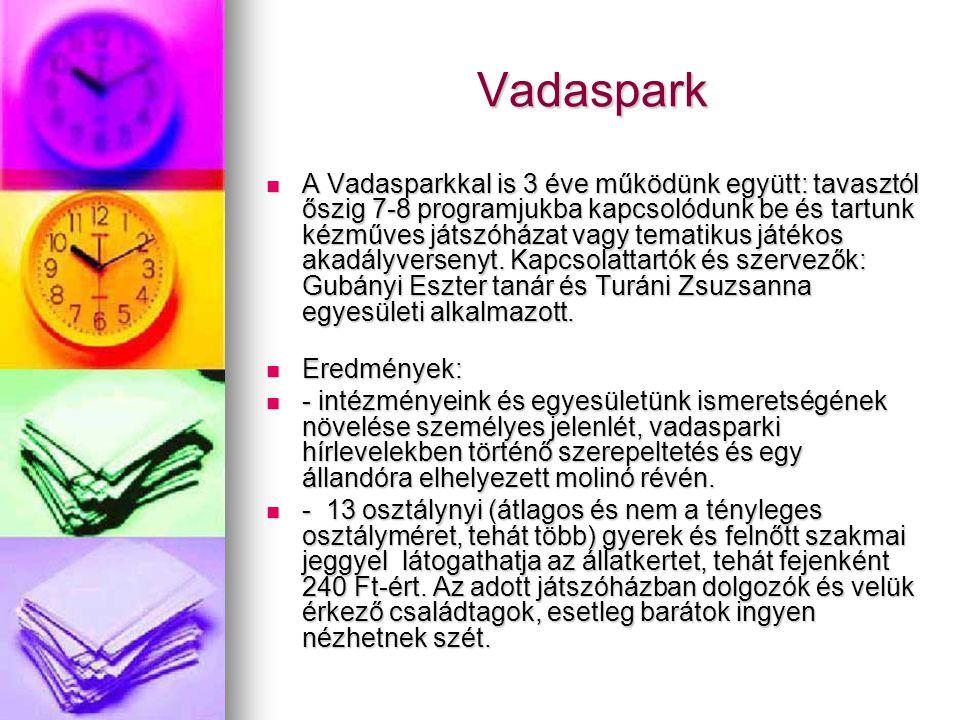 Vadaspark  A Vadasparkkal is 3 éve működünk együtt: tavasztól őszig 7-8 programjukba kapcsolódunk be és tartunk kézműves játszóházat vagy tematikus játékos akadályversenyt.
