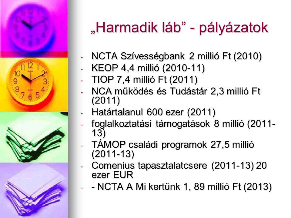 """""""Harmadik láb - pályázatok - NCTA Szívességbank 2 millió Ft (2010) - KEOP 4,4 millió (2010-11) - TIOP 7,4 millió Ft (2011) - NCA működés és Tudástár 2,3 millió Ft (2011) - Határtalanul 600 ezer (2011) - foglalkoztatási támogatások 8 millió (2011- 13) - TÁMOP családi programok 27,5 millió (2011-13) - Comenius tapasztalatcsere (2011-13) 20 ezer EUR - - NCTA A Mi kertünk 1, 89 millió Ft (2013)"""