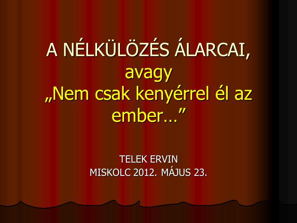 """A NÉLKÜLÖZÉS ÁLARCAI, avagy """"Nem csak kenyérrel él az ember… TELEK ERVIN MISKOLC 2012. MÁJUS 23."""