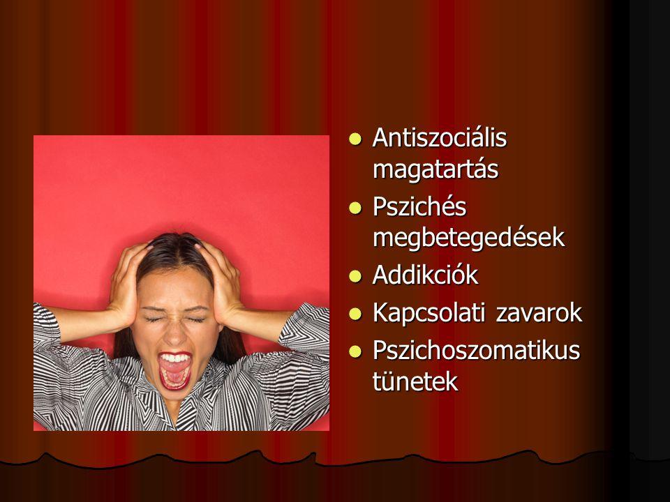AAAAntiszociális magatartás PPPPszichés megbetegedések AAAAddikciók KKKKapcsolati zavarok PPPPszichoszomatikus tünetek