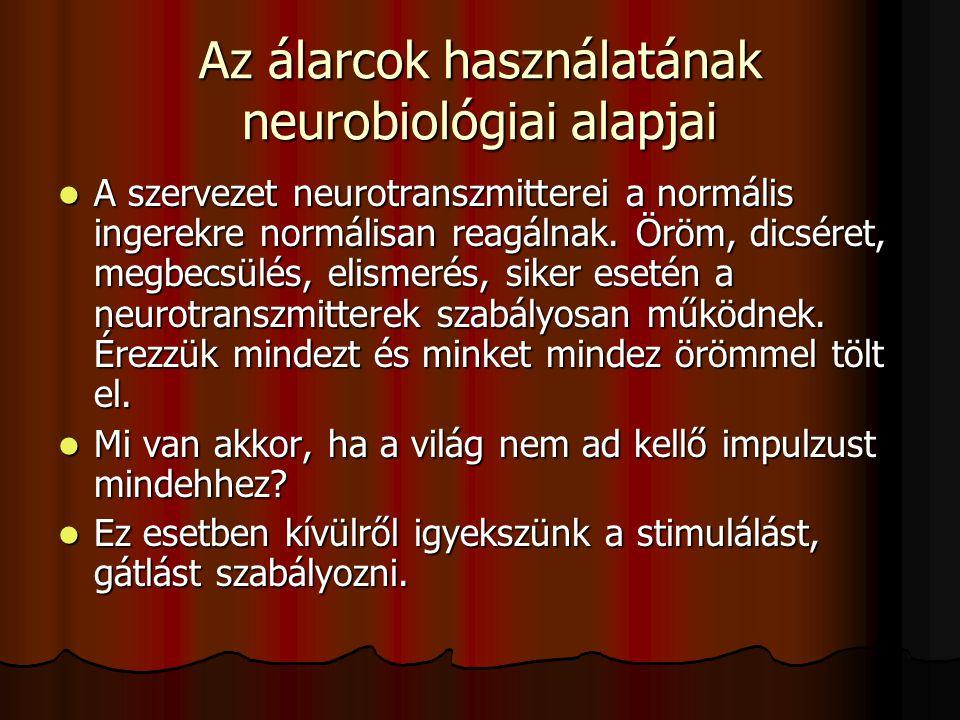 Az álarcok használatának neurobiológiai alapjai  A szervezet neurotranszmitterei a normális ingerekre normálisan reagálnak.