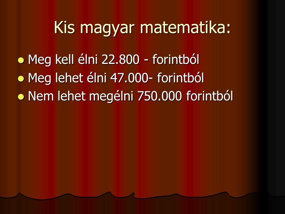 Kis magyar matematika:  Meg kell élni 22.800 - forintból  Meg lehet élni 47.000- forintból  Nem lehet megélni 750.000 forintból