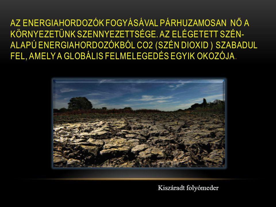 AZ ENERGIAHORDOZÓK FOGYÁSÁVAL PÁRHUZAMOSAN NŐ A KÖRNYEZETÜNK SZENNYEZETTSÉGE. AZ ELÉGETETT SZÉN- ALAPÚ ENERGIAHORDOZÓKBÓL CO2 (SZÉN DIOXID ) SZABADUL