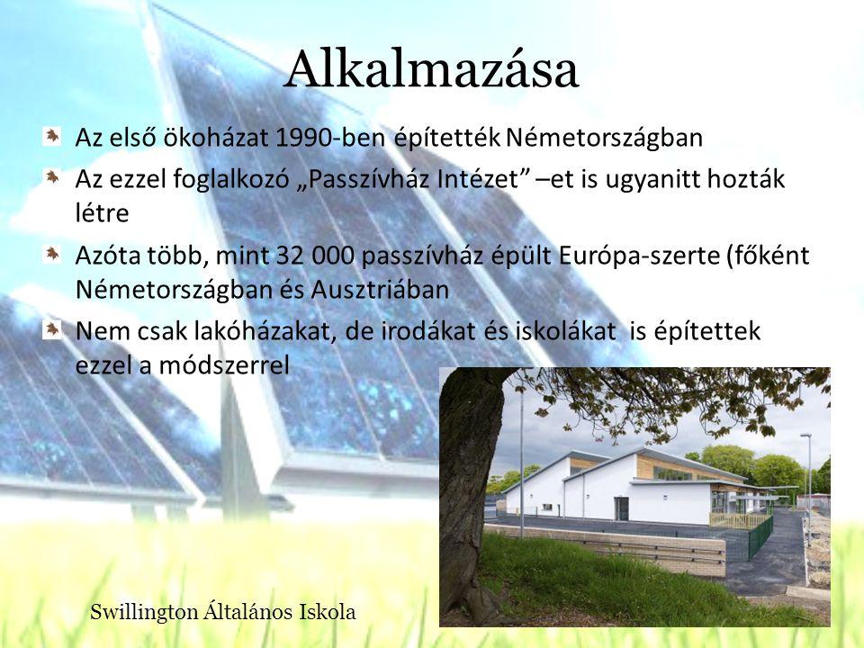"""Alkalmazása Az első ökoházat 1990-ben építették Németországban Az ezzel foglalkozó """"Passzívház Intézet –et is ugyanitt hozták létre Azóta több, mint 32 000 passzívház épült Európa-szerte (főként Németországban és Ausztriában Nem csak lakóházakat, de irodákat és iskolákat is építettek ezzel a módszerrel Swillington Általános Iskola"""