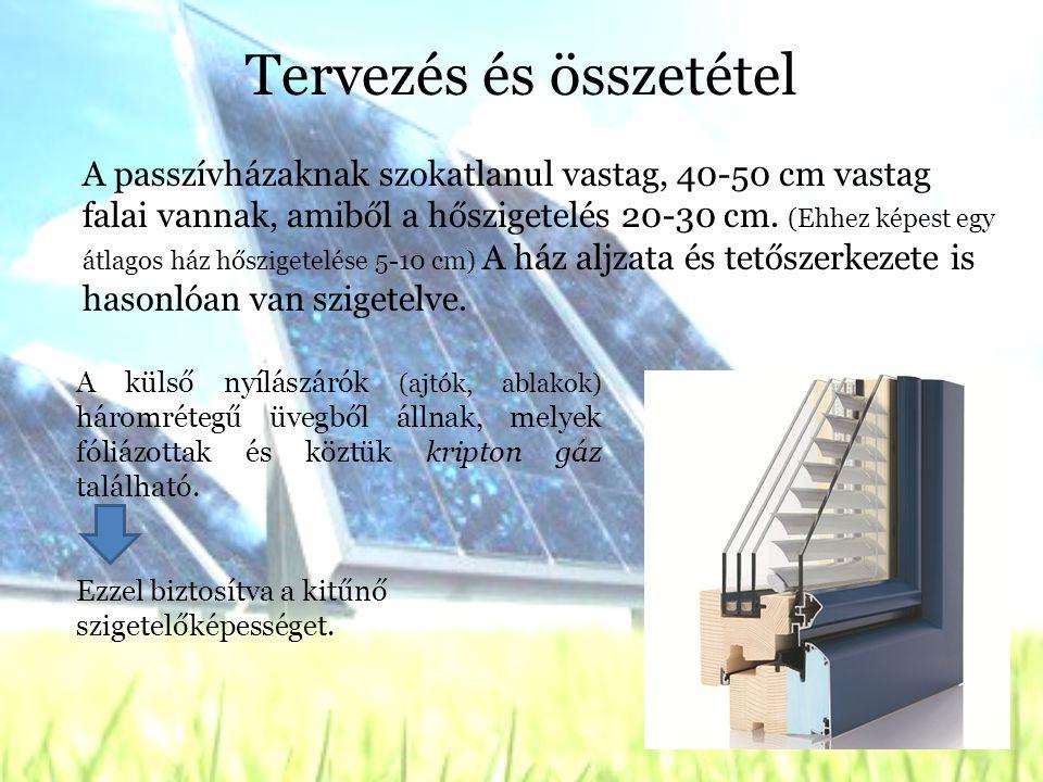 Tervezés és összetétel A passzívházaknak szokatlanul vastag, 40-50 cm vastag falai vannak, amiből a hőszigetelés 20-30 cm.