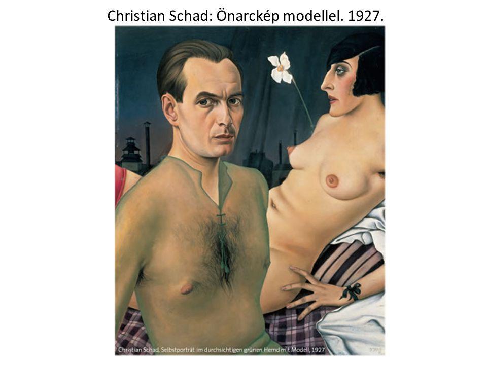 Christian Schad: Önarckép modellel. 1927.