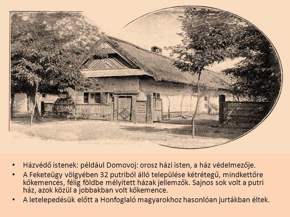 • Házvédő istenek: például Domovoj: orosz házi isten, a ház védelmezője. • A Feketeügy völgyében 32 putriból álló települése kétrétegű, mindkettőre kő