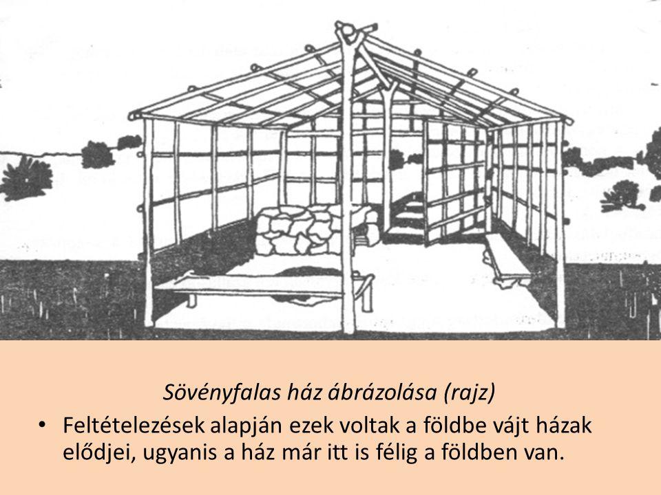 Sövényfalas ház ábrázolása (rajz) • Feltételezések alapján ezek voltak a földbe vájt házak elődjei, ugyanis a ház már itt is félig a földben van.