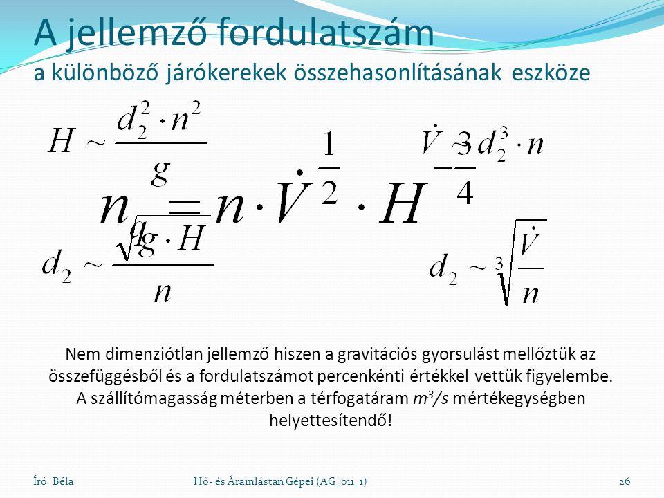 Író BélaHő- és Áramlástan Gépei (AG_011_1)26 Nem dimenziótlan jellemző hiszen a gravitációs gyorsulást mellőztük az összefüggésből és a fordulatszámot