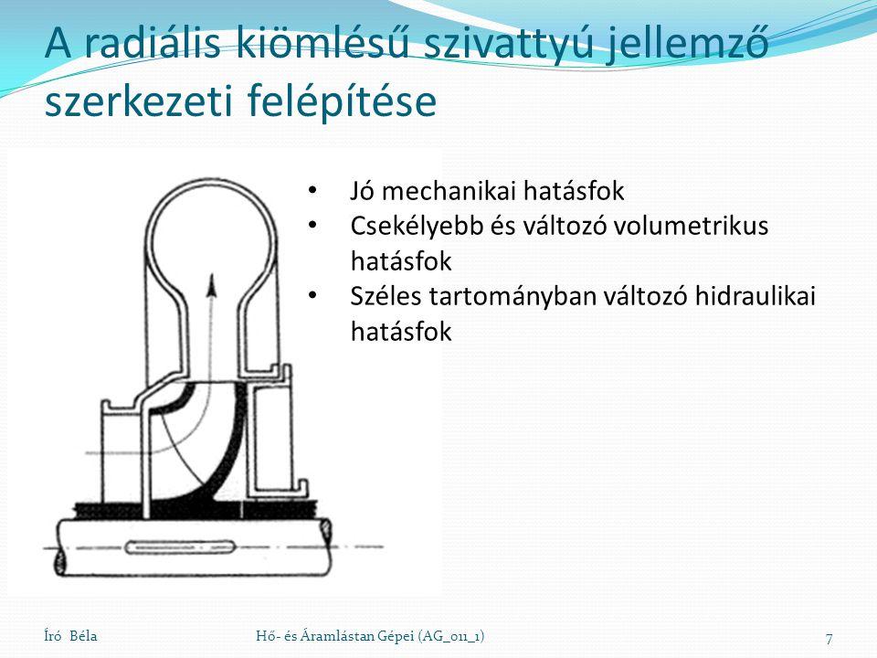 Író BélaHő- és Áramlástan Gépei (AG_011_1)7 • Jó mechanikai hatásfok • Csekélyebb és változó volumetrikus hatásfok • Széles tartományban változó hidra