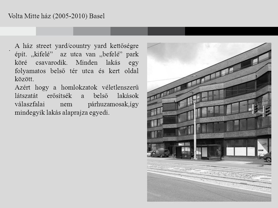 Volta Mitte ház (2005-2010) Basel. A ház street yard/country yard kettőségre épít.