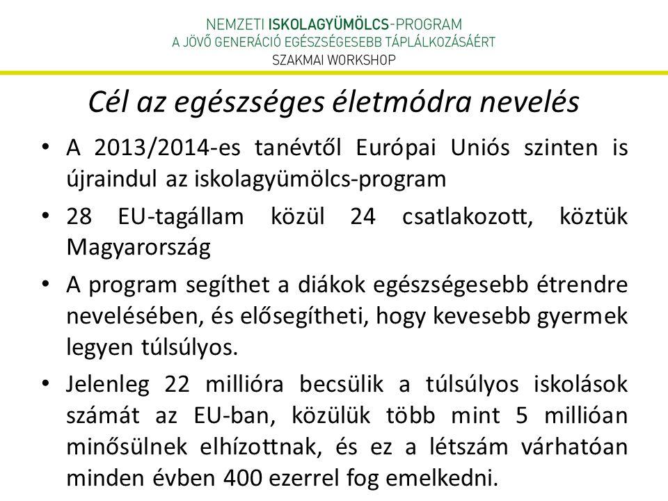 Cél az egészséges életmódra nevelés • A 2013/2014-es tanévtől Európai Uniós szinten is újraindul az iskolagyümölcs-program • 28 EU-tagállam közül 24 csatlakozott, köztük Magyarország • A program segíthet a diákok egészségesebb étrendre nevelésében, és elősegítheti, hogy kevesebb gyermek legyen túlsúlyos.