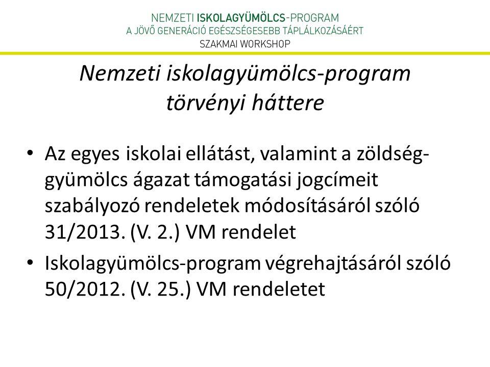 Nemzeti iskolagyümölcs-program törvényi háttere • Az egyes iskolai ellátást, valamint a zöldség- gyümölcs ágazat támogatási jogcímeit szabályozó rendeletek módosításáról szóló 31/2013.