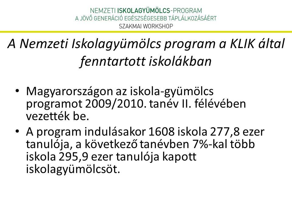 A Nemzeti Iskolagyümölcs program a KLIK által fenntartott iskolákban • Magyarországon az iskola-gyümölcs programot 2009/2010.