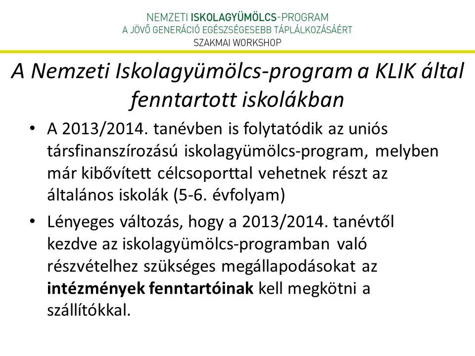 A Nemzeti Iskolagyümölcs-program a KLIK által fenntartott iskolákban • A 2013/2014.