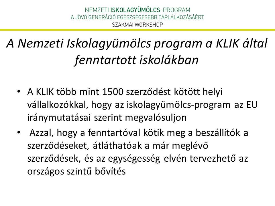 A Nemzeti Iskolagyümölcs program a KLIK által fenntartott iskolákban • A KLIK több mint 1500 szerződést kötött helyi vállalkozókkal, hogy az iskolagyümölcs-program az EU iránymutatásai szerint megvalósuljon • Azzal, hogy a fenntartóval kötik meg a beszállítók a szerződéseket, átláthatóak a már meglévő szerződések, és az egységesség elvén tervezhető az országos szintű bővítés