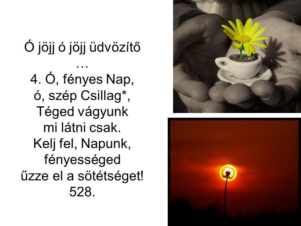 Ó jöjj ó jöjj üdvözítő … 4. Ó, fényes Nap, ó, szép Csillag*, Téged vágyunk mi látni csak. Kelj fel, Napunk, fényességed űzze el a sötétséget! 528.