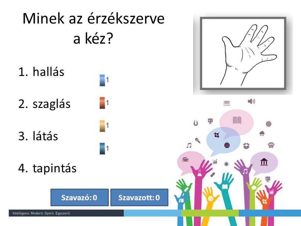 Szavazott: 0Szavazó: 0 Minek az érzékszerve a kéz? 1. hallás 2. szaglás 3. látás 4. tapintás