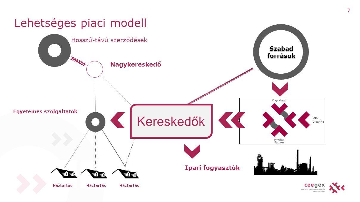 Hosszú-távú szerződések Nagykereskedő Egyetemes szolgáltatók Szabad források Lehetséges piaci modell Storage capacity OTC Clearing Kereskedők Ipari fo