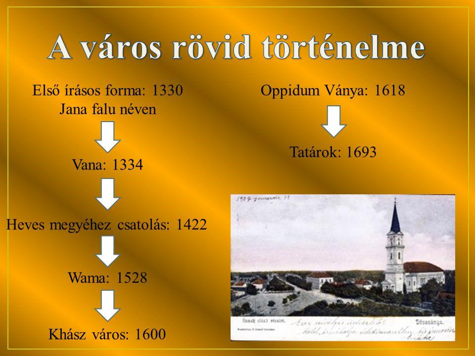 Khász város: 1600 Oppidum Ványa: 1618 Tatárok: 1693 Első írásos forma: 1330 Jana falu néven Vana: 1334 Heves megyéhez csatolás: 1422 Wama: 1528